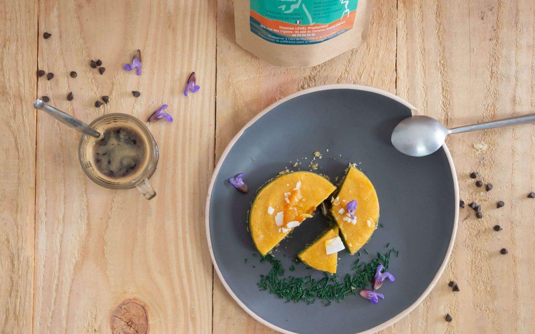 Gâteau crémeux orange spiruline, sans cuisson
